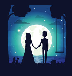 Silhouette of couple at night vector