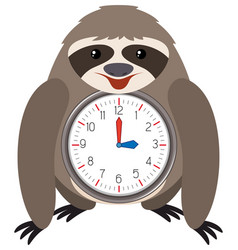sloth themed clock white background vector image