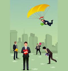 Solving business puzzle teamwork concept vector