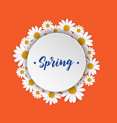 Spring round frame with blooming chamomile vector