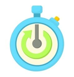 Stopwatch with green arrow icon cartoon style vector