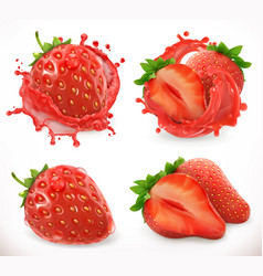 strawberry juice fresh fruit 3d realistic icon vector image