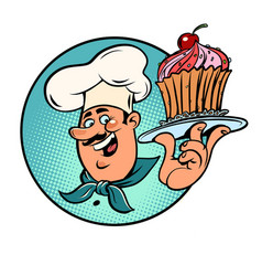 sweet cupcake basket with a cherry in the hands vector image