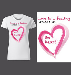 T-shirt design with pink painted heart vector