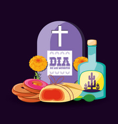 tequila bottle day of the dead party vector image