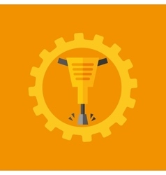 Tool box jackhammer construction icon design vector