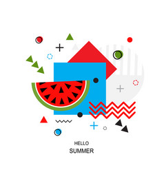 trendy style geometric pattern with watermelon vector image