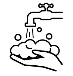wash hands line silhouette icon hands under vector image