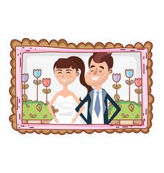 wedding portrait cartoon vector image