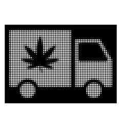 white halftone cannabis delivery van icon vector image