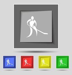 Winter sport Hockey icon sign on original five vector