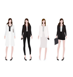 Woman in working outfit flat style collection vector