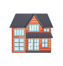 wooden two-story eco house exterior front view vector image