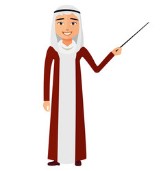 Yemen arab business man with a pointer flat vector