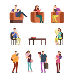 young woman and man college students reading book vector image