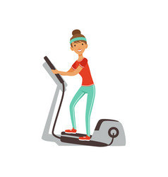 Young woman character exercising with elliptical vector