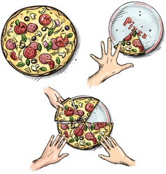 Yummy pizza Hands holding pizza slices vector image