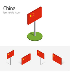 chinese prc flag set of 3d isometric vector image vector image