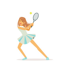 cute girl with tennis racket and ball vector image