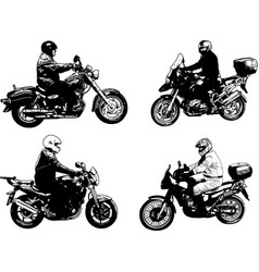 four sketch motorcyclists vector image vector image