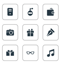 set of simple accessories vector image vector image