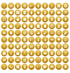 100 lunch icons set gold vector