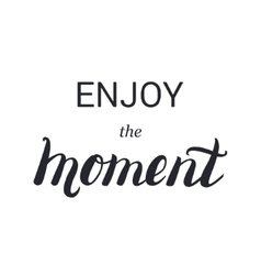 Enjoy the moment lettering calligraphy on brush vector image vector image
