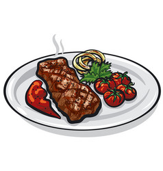 grilled roasted steak vector image
