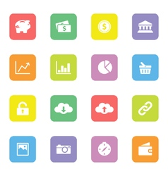 Colorful simple flat icon set 4 on rounded rectang vector