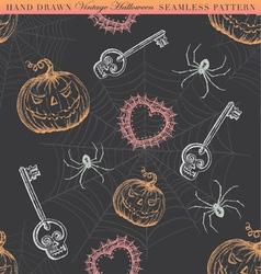 Hand Drawn Vintage Halloween Seamless Pattern vector image vector image
