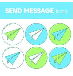 send message line design icon paper plane set vector image vector image