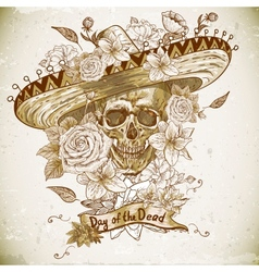 Skull in sombrero with flowers Day of The Dead vector image