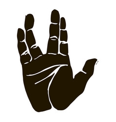 Black silhouette realistic salute vulcan hand vector