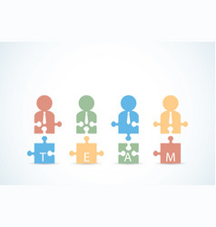 businessmen with jigsaw puzzle pieces vector image vector image