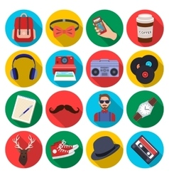 Hipster style set icons in flat style Big vector image vector image