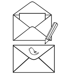 Open envelope with paper and pencil vector