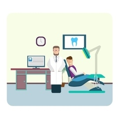 Set of flat colorful dentist office interior vector image vector image