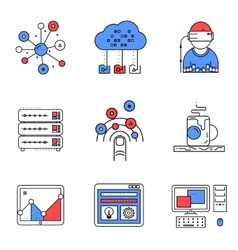 Web services line icons set vector image vector image