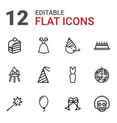 12 party icons vector