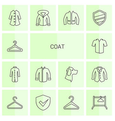 14 coat icons vector image