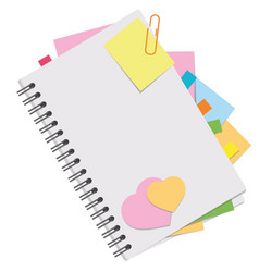 a colored picture of an open notebook with blank vector image