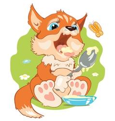 A small fox eating porridge vector