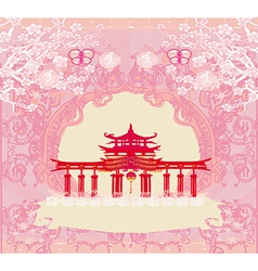 Abstract card with Asian buildings vintage frame vector image