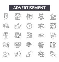 advertisement line icons signs set vector image