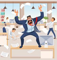 angry boss screams in chaos at his subordinates vector image