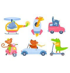 Animal transport cartoon kids zoo characters in vector