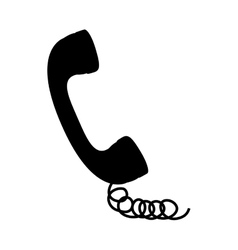 Black silhouette handset with cord vector