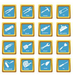 building hand tool icons set sapphirine square vector image