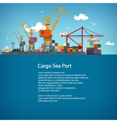 Cargo Seaport Poster Brochure vector image