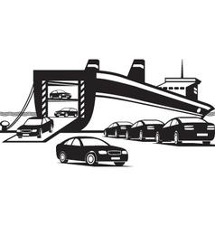 Cargo ship unloading new cars vector